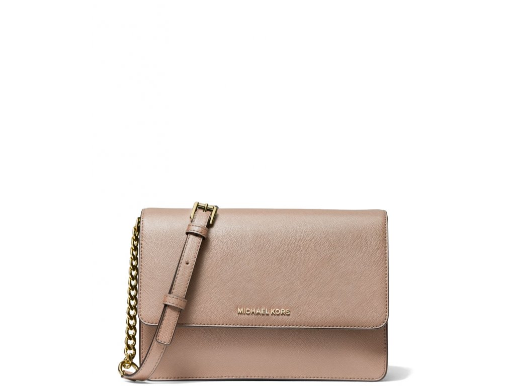 Michael Kors Daniela Large Saffiano Leather Crossbody Bag Fawna