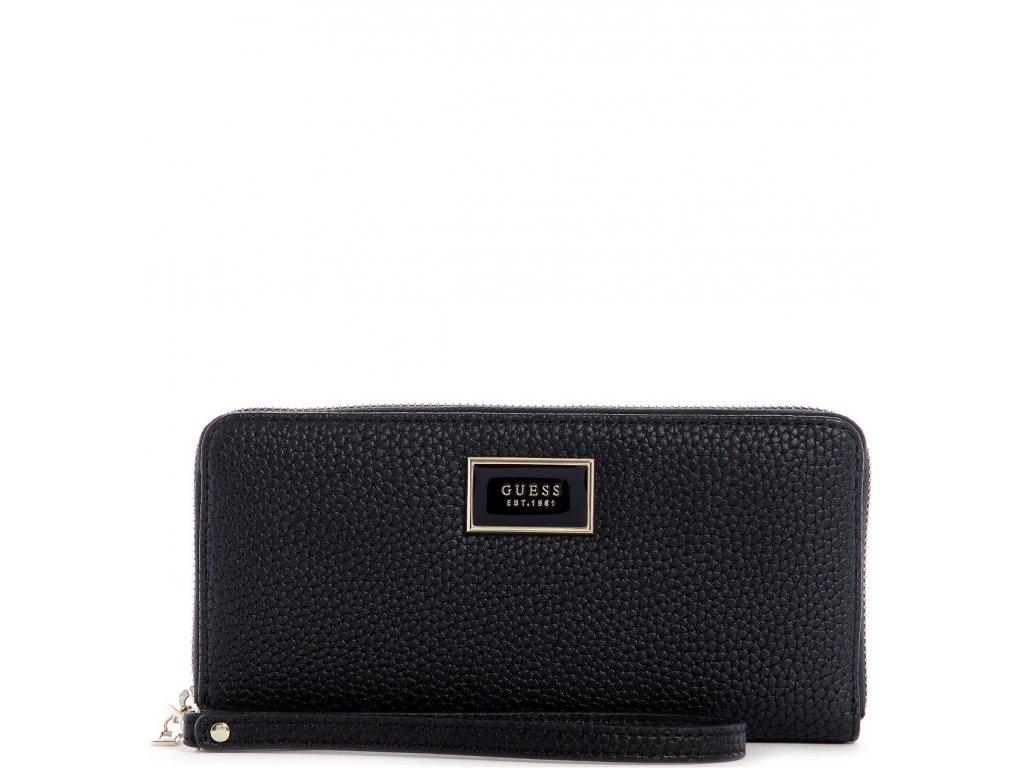 GUESS Alessi Large Zip Around Wallet Wristlet Black Pale Gold