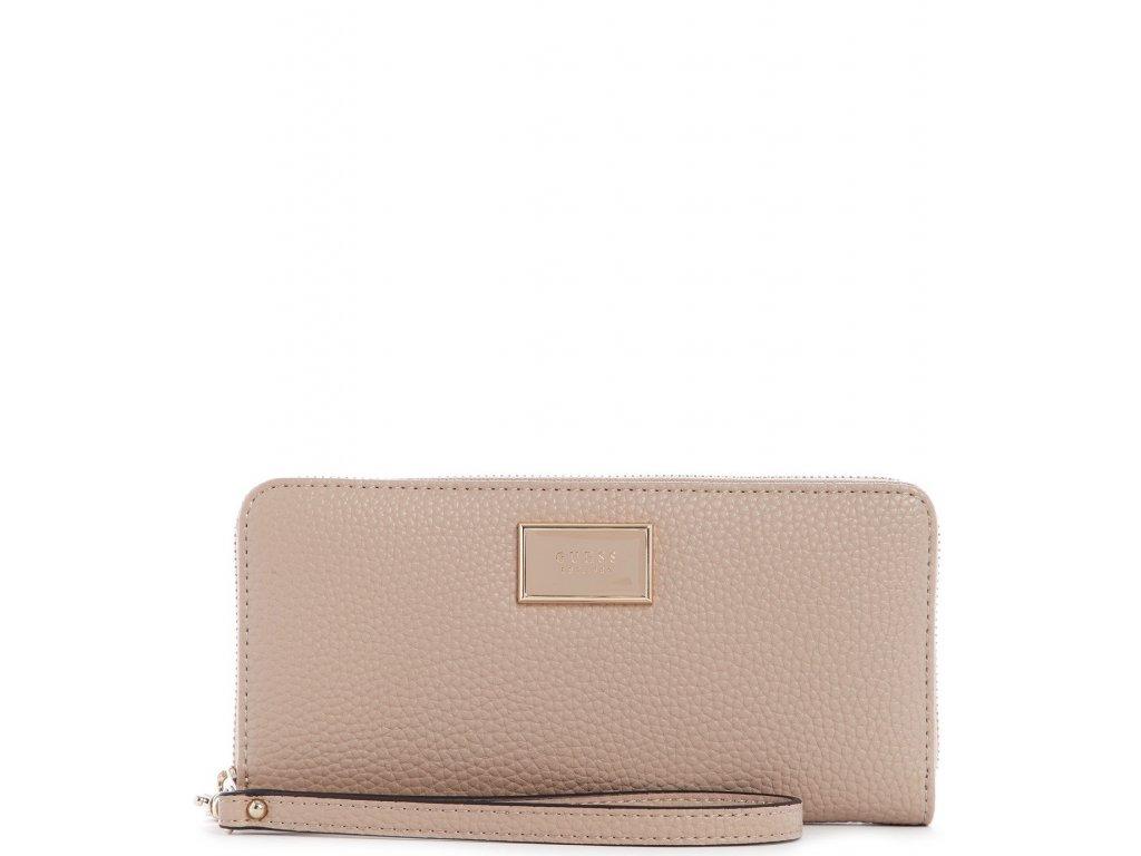 GUESS Alessi Large Zip Around Wallet Wristlet Caramel Pale Gold