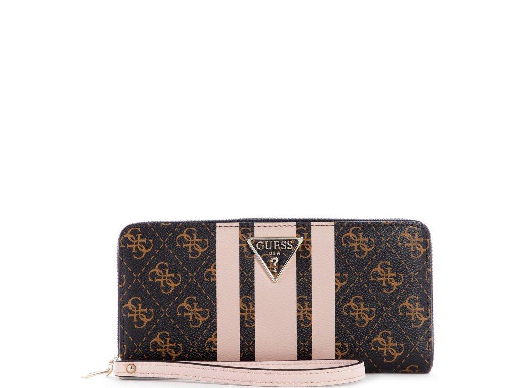 GUESS Ambrose SLG Large Zip Around Wallet Brown Blush Logo