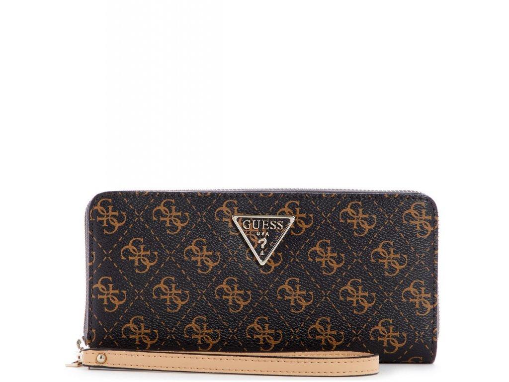GUESS Noelle Large Logo Zip Around Wallet Wristlet Brown Logo Gold