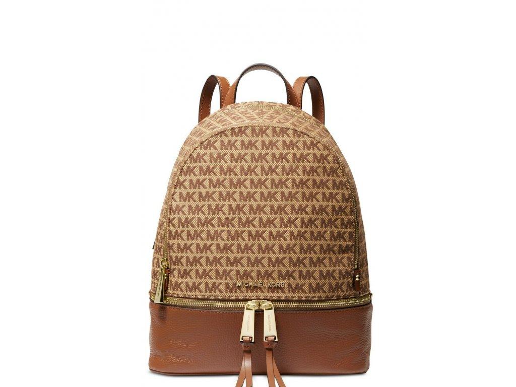 MICHAEL Michael Kors Rhea Jacquard Signature Backpack BrownGold