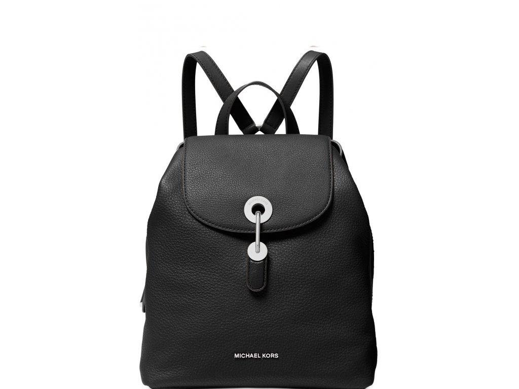 Raven Leather Backpack Black Silver