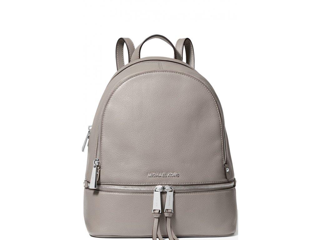 Michael Kors Batoh Rhea Medium Pebble Leather Backpack Pearl Grey