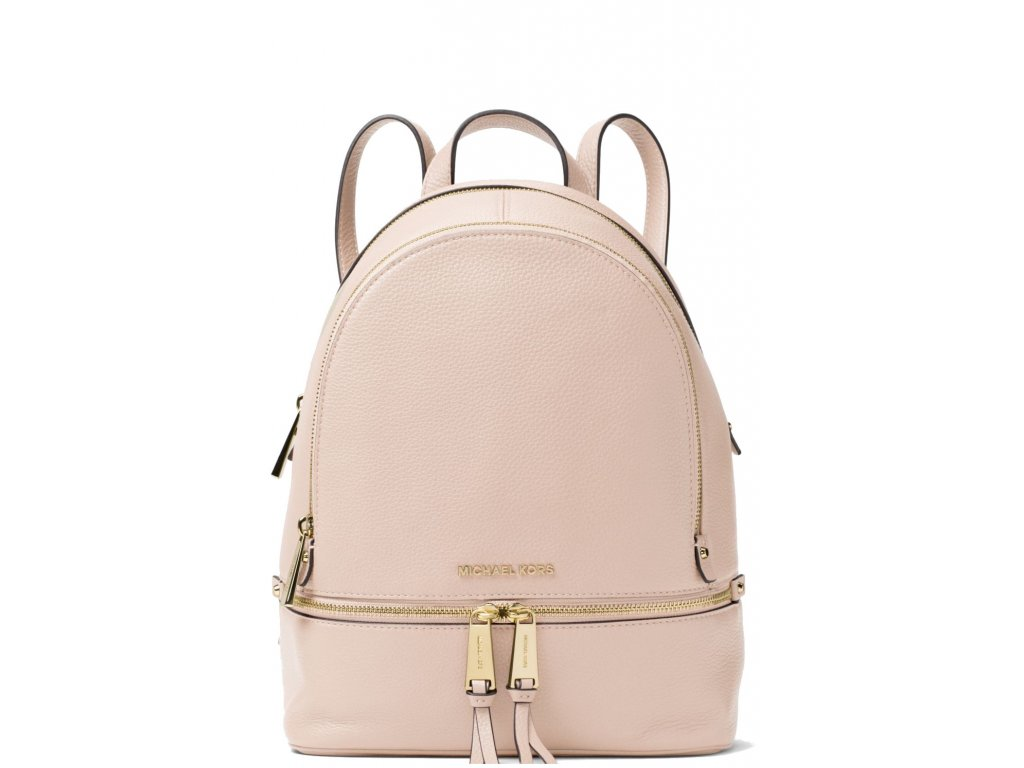 Rhea Medium Pebble Leather Backpack Soft Pink