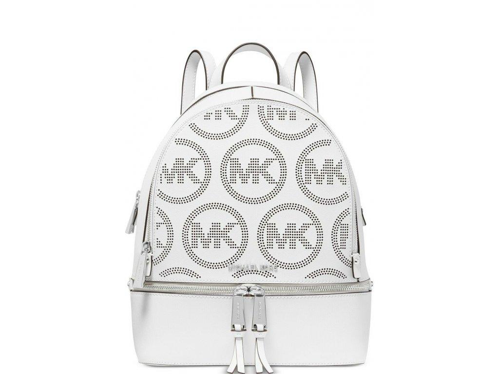 Michael Kors Rhea Zip Small Backpack Leather Optic White Logo
