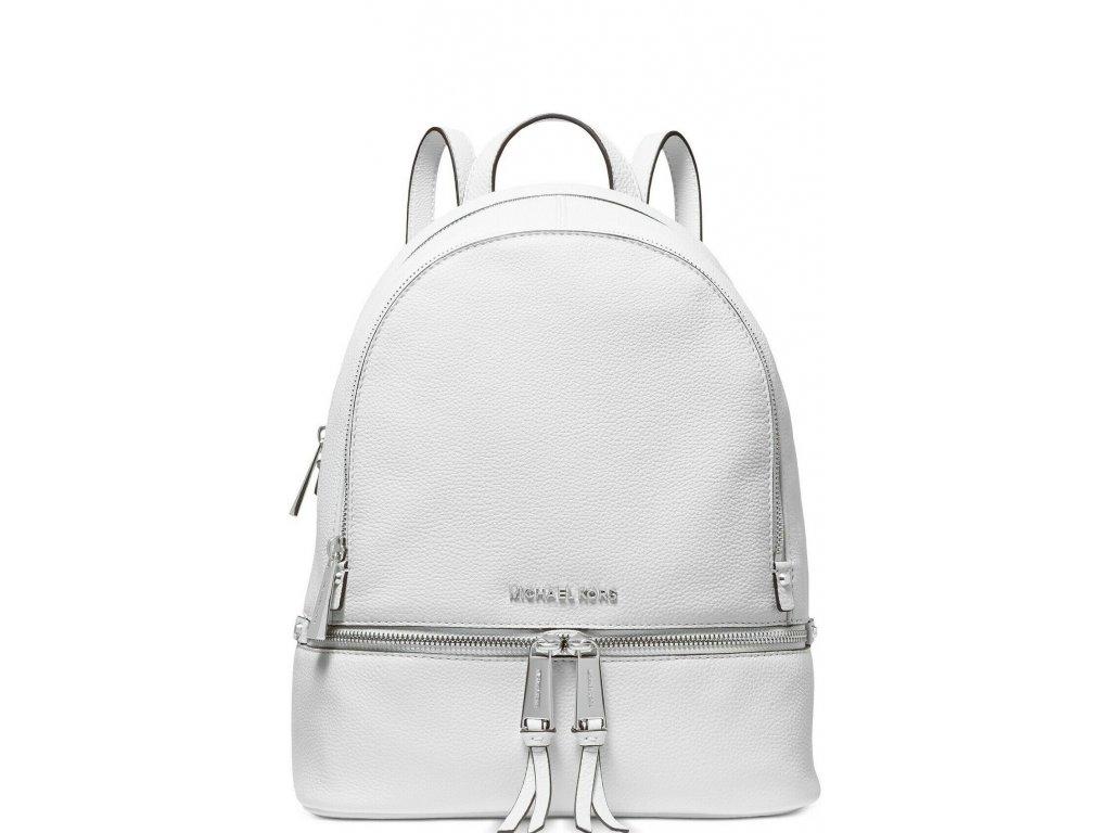 Rhea Zip Small Backpack Pebble Leather White