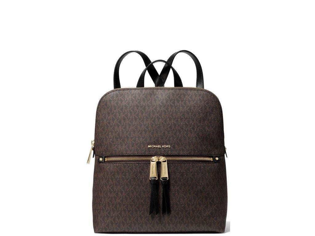 Michael Kors Signature Rhea Medium Slim Backpack Brown Black
