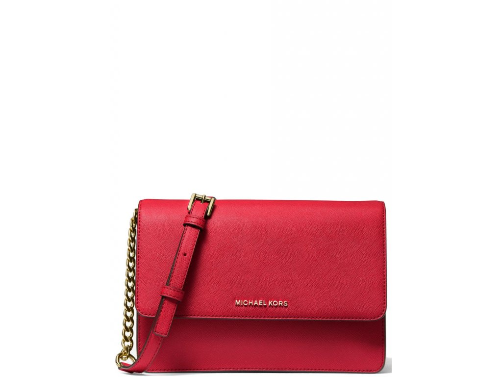 Michael Kors Daniela Large Saffiano Leather Crossbody Bag Bright Red