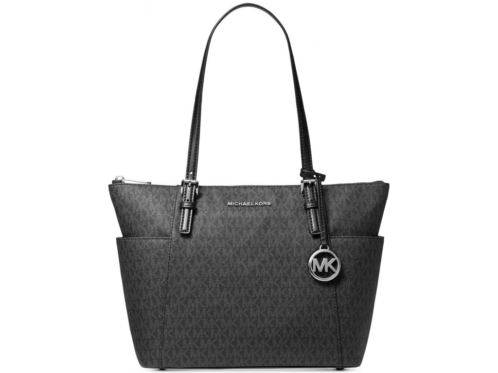 Jet Set East West Top Zip Leather Tote Silver