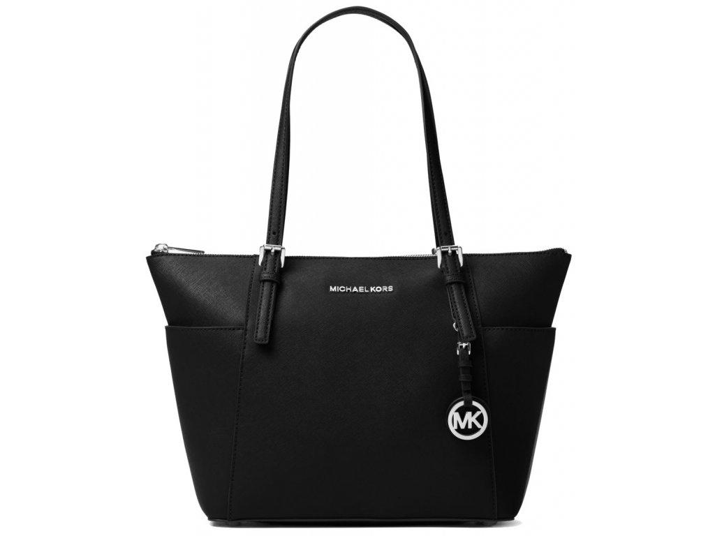 Jet Set Saffiano Leather Top Zip Tote Bag Black Silver