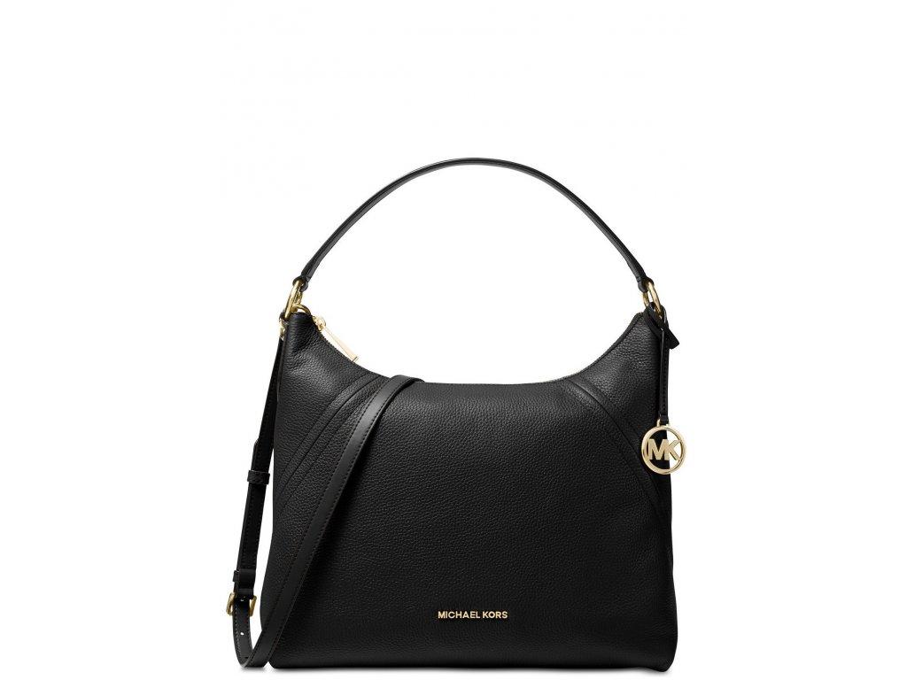 Michael Kors Kabelka Aria Pebble Leather Shoulder Bag Black Gold