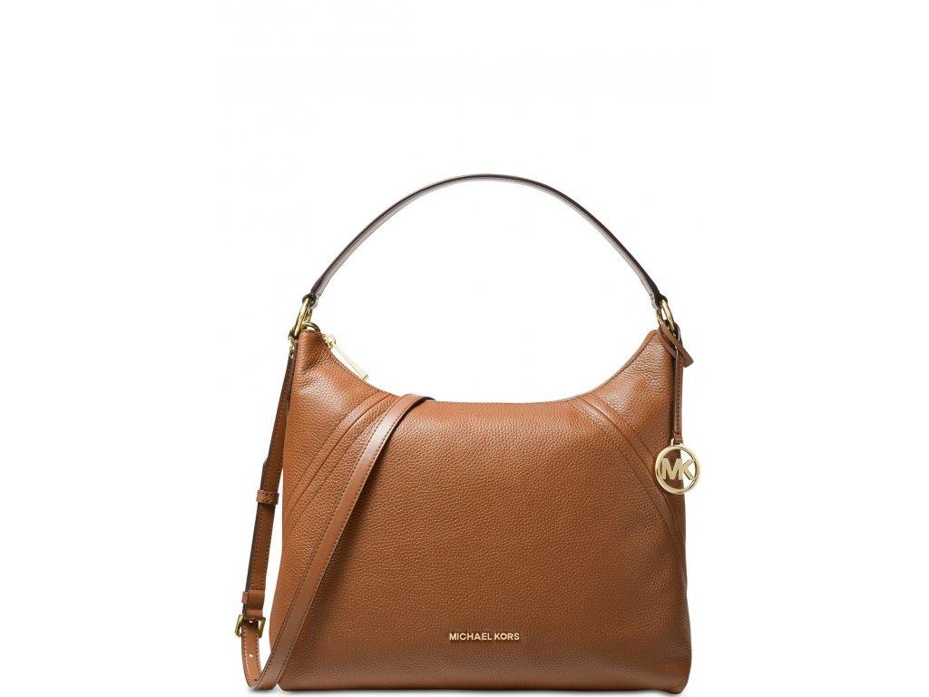 Michael Kors Aria Pebble Leather Shoulder Bag Luggage Gold