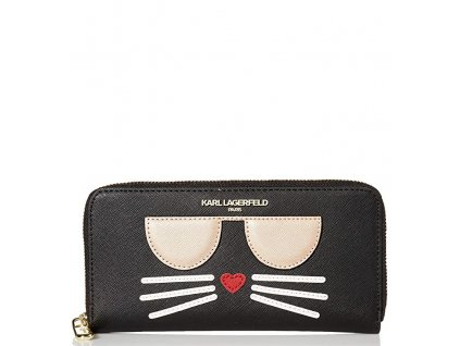 Karl Lagerfeld Paris Zip Around Wallet Deep Black Gold