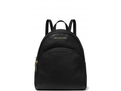 Michael Kors Abbey Medium Pebbled Leather Backpack Black Gold