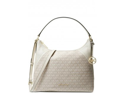 Michael Kors Aria Jacquard & Leather Signature Shoulder Bag NaturalCreamGod