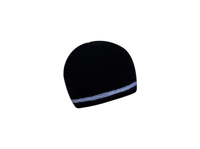 Zimní dvouvrstvá čepice s reflexním páskem - Černá