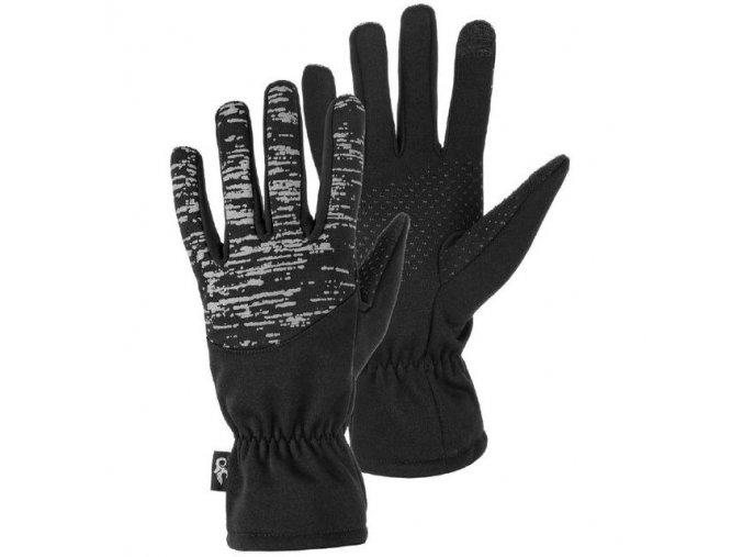 Rukavice zimní, černé s reflexním potiskem, vel. 10