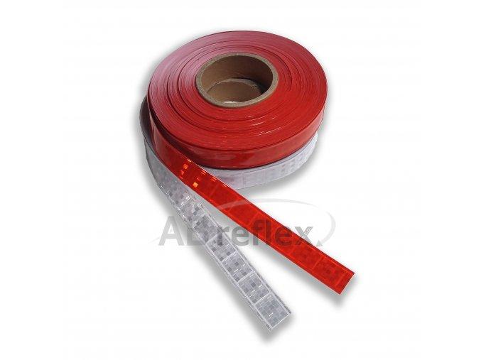 Reflexní PVC našívací páska 25mm -  červená