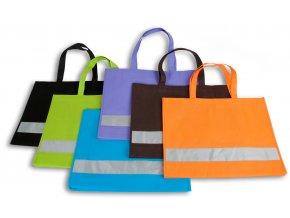 Nákupní taška s reflexním pruhem - HNĚDÁ
