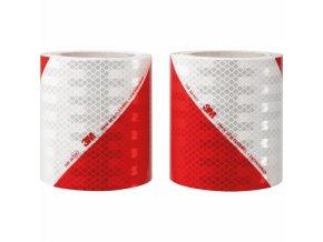 Reflexní 3M pružná prizmatická folie červeno-bílé šrafování