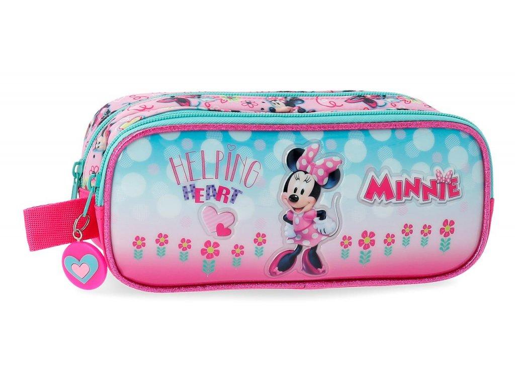 Penál dvoukomorový Disney Minnie Heart