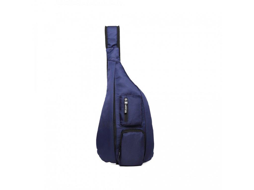 Moderní pánský úzký batoh přes hrudník - modrý