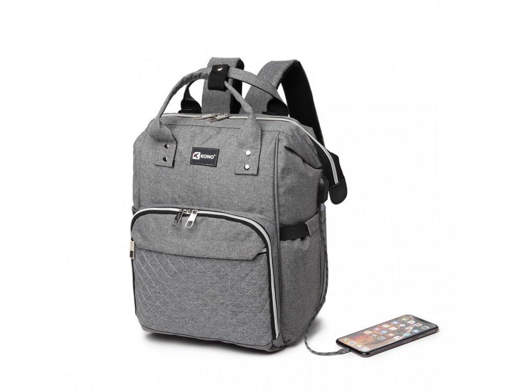 Přebalovací batoh na kočárek Kono s USB portem - šedý