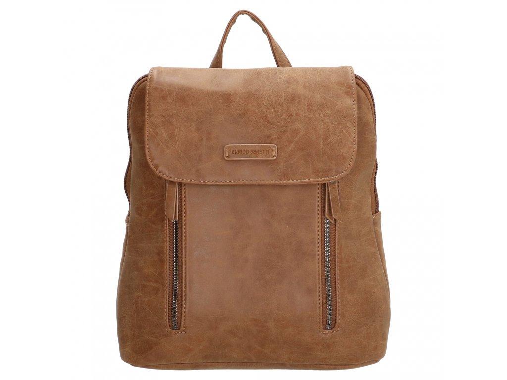 Módní kožený batoh Nuoméa Enrico Benetti - camel
