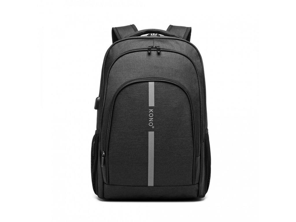 Chytrý batoh se zabudovaným USB portem Freddy - černý