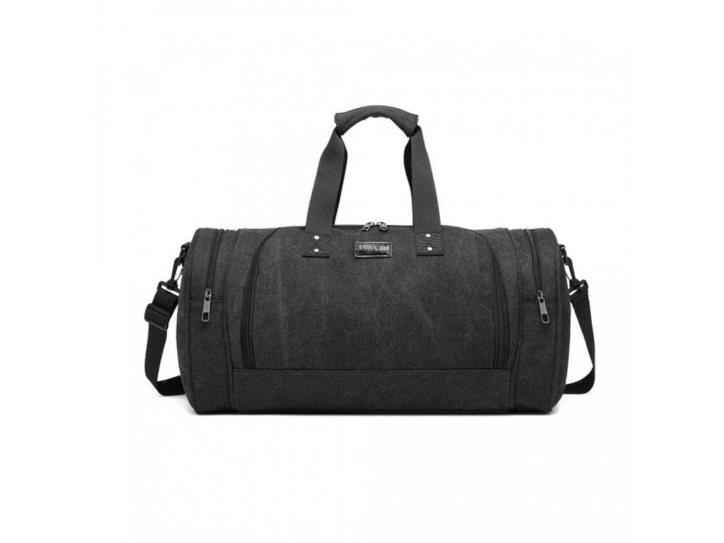 Pánská sportovní taška Kono Canvas Bagel - černá