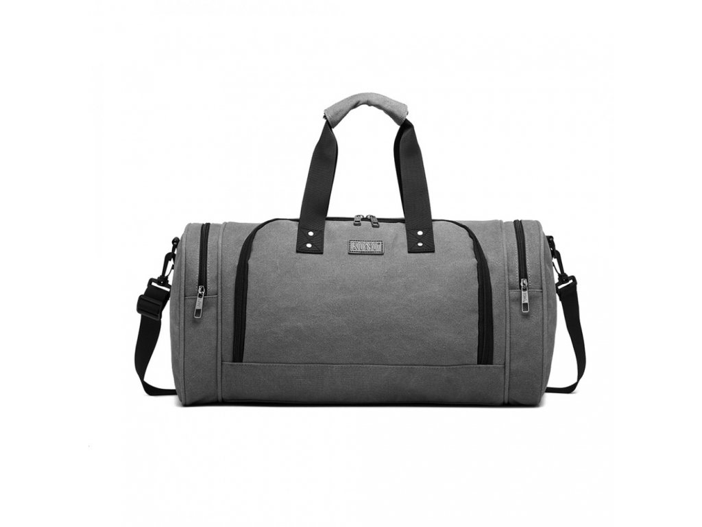 Pánská sportovní taška Kono Canvas Bagel - šedá