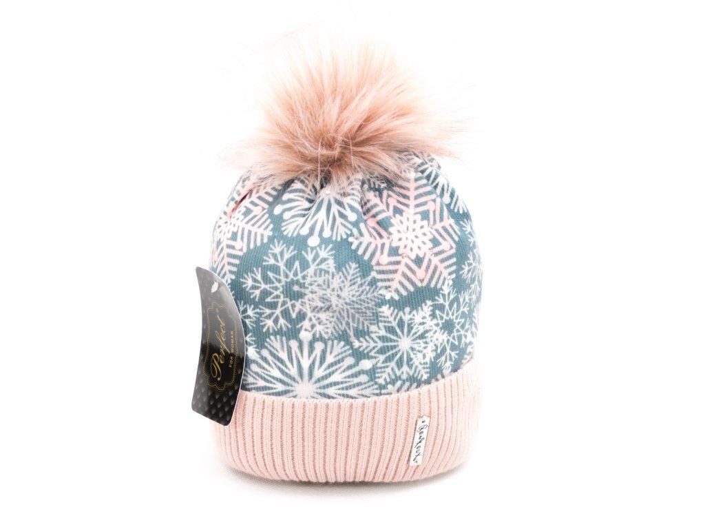 Dámská zimní čepice vločka - růžová s petrolejově zelenou