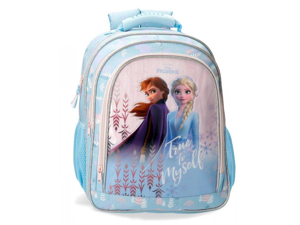 Rozkošný školní dvoukomorový batoh Frozen 2 - modrý