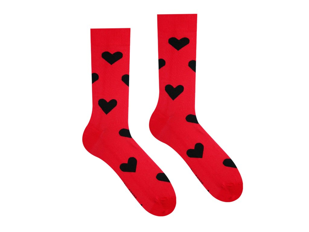 Veselé Ponožky Srdíčka Červená