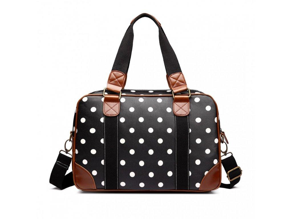 Malá cestovní taška - černá puntíkatá