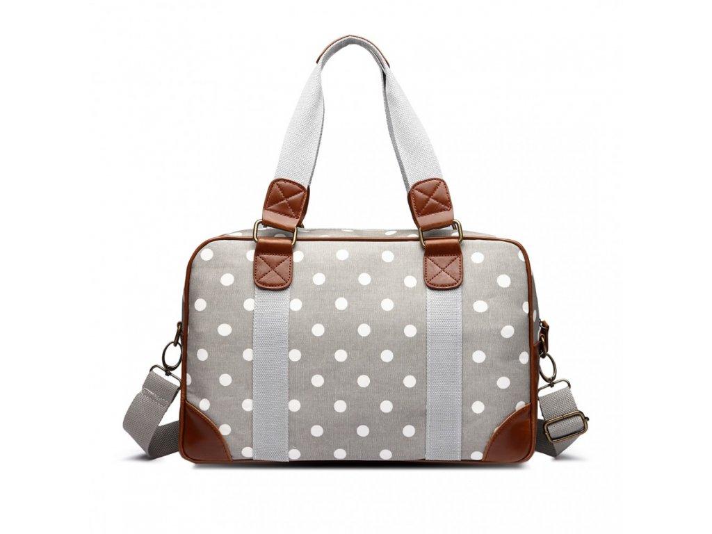 Malá cestovní taška - šedá puntíkatá