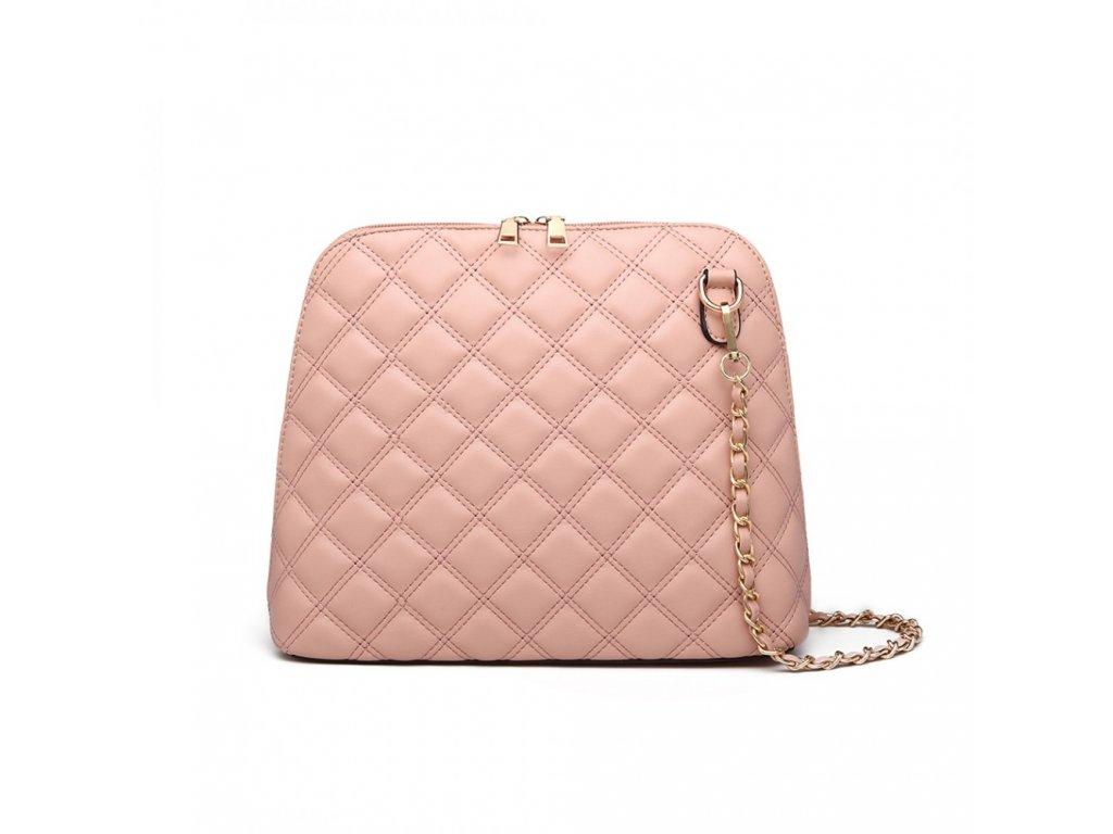 Elegantní prošívaná crossbody kabelka Xara - růžová
