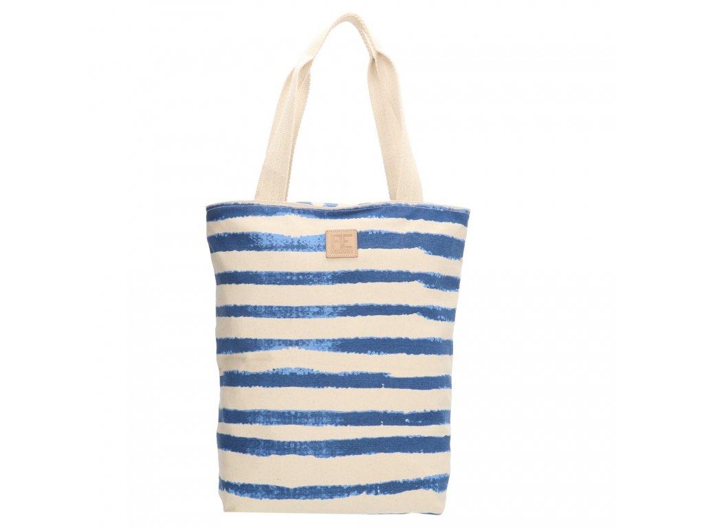 Bavlněná pruhovaná shopper taška PE-Florence - modrá