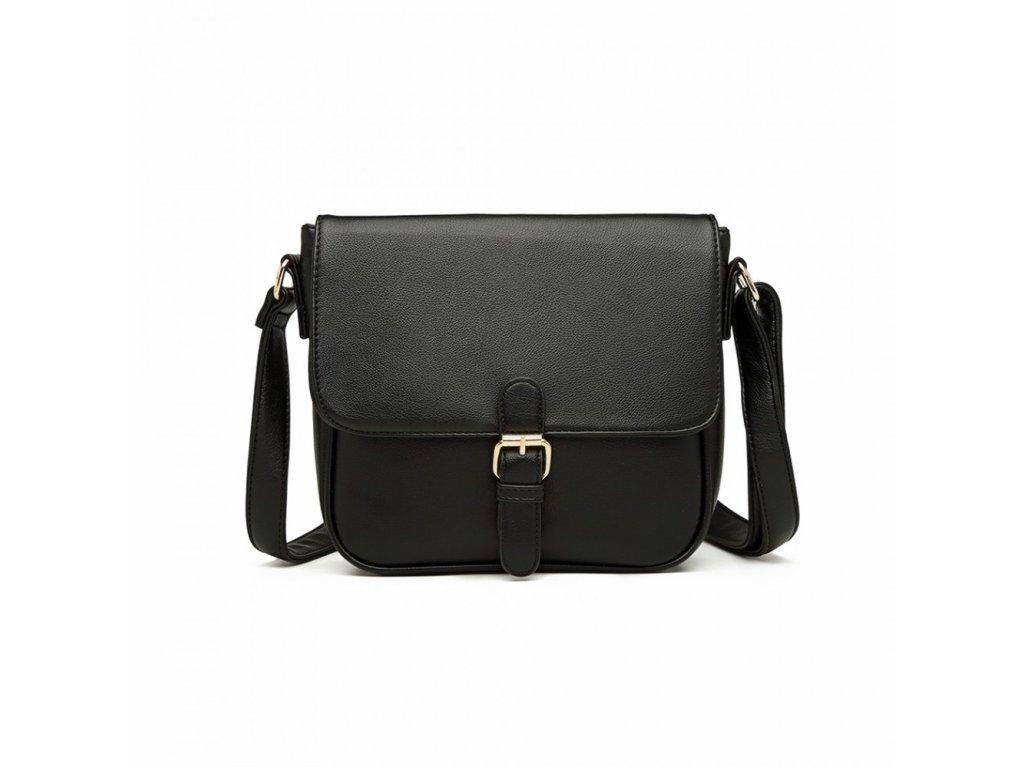 Klasická crossbody kabelka s přezkou Nairi - černá