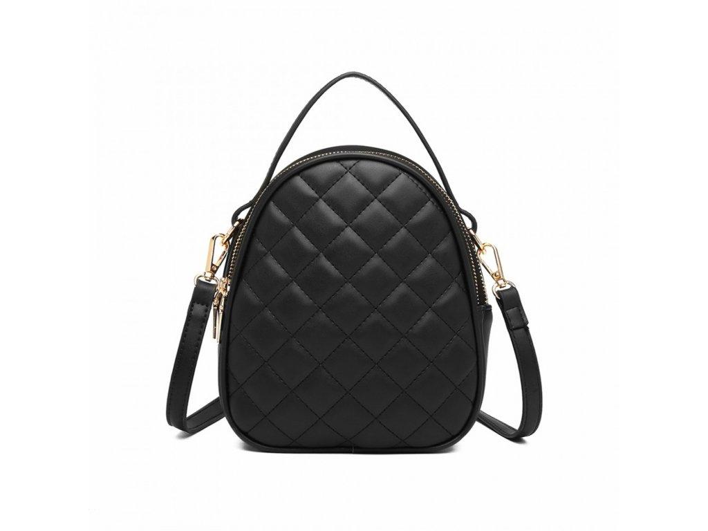 Kompaktní prošívaný mini kabelka - černá