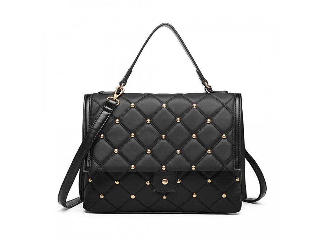 Prošívaná elegantní vybíjená kabelka Karmen - černá