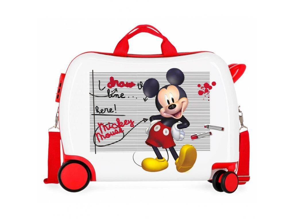 Dětský kufřík na kolečkách - odražedlo - Mickey Draw The Line