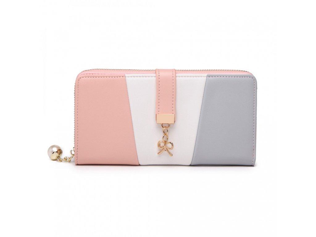 Moderní dámská peněženka Fancy - šedo růžová