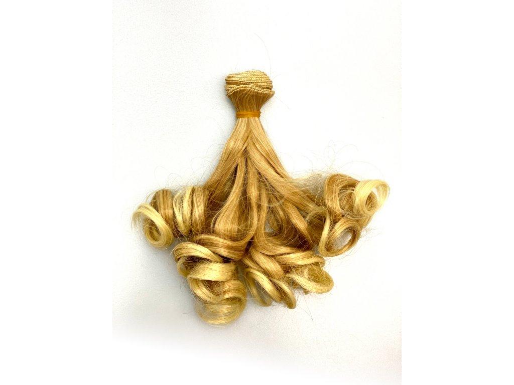 Umělé vlnité vlásky pro výrobu panenek - blond přeliv