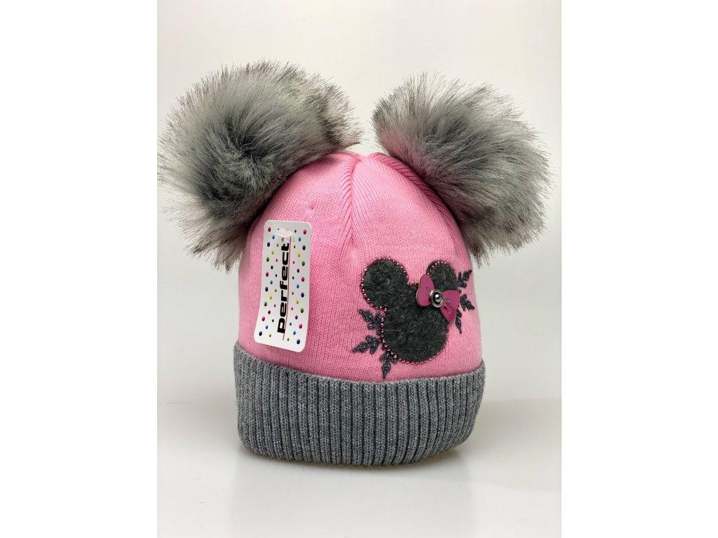 Zimní holčičí čepice s dvěma bambulkami Minnie- růžová Perfect