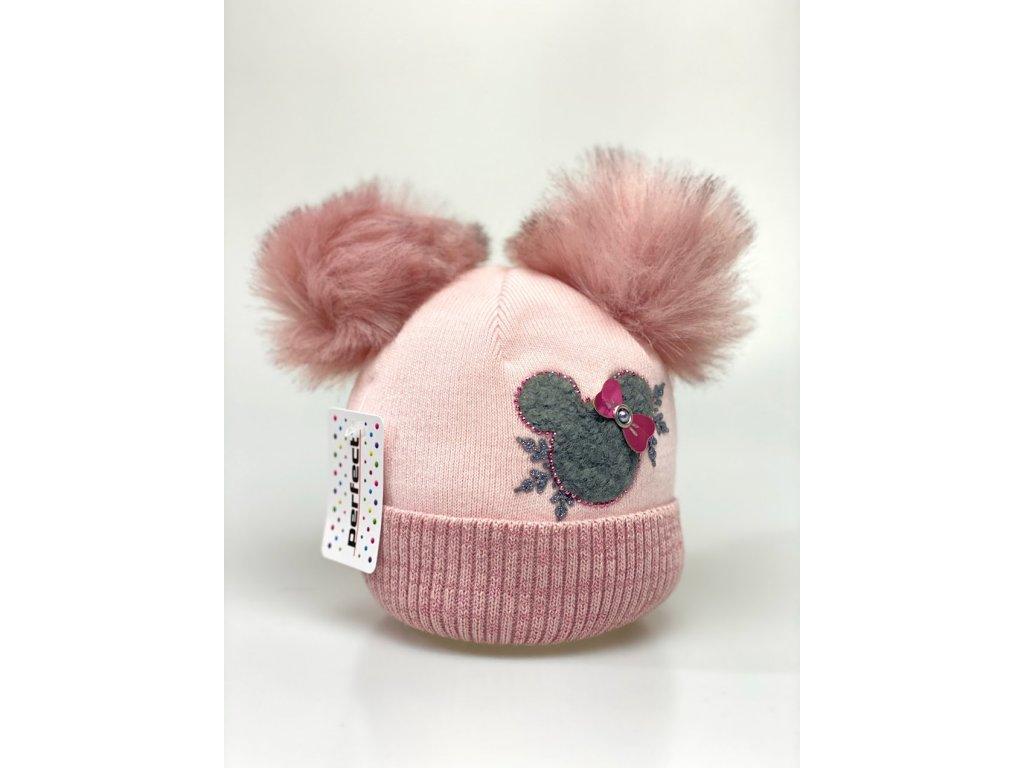 Zimní holčičí čepice s dvěma bambulkami Minnie - světlo růžová