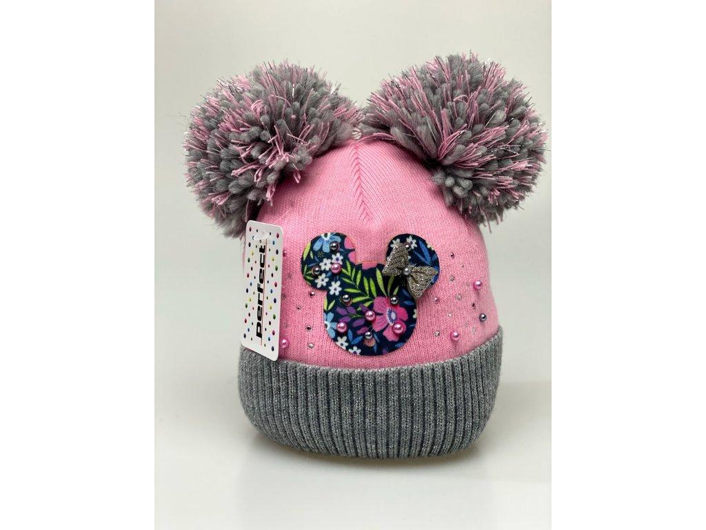 Zimní holčičí čepice s dvěma bambulkami Minnie color - růžová
