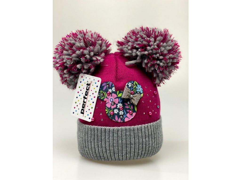 Zimní holčičí čepice s dvěma bambulkami Minnie color - vínová