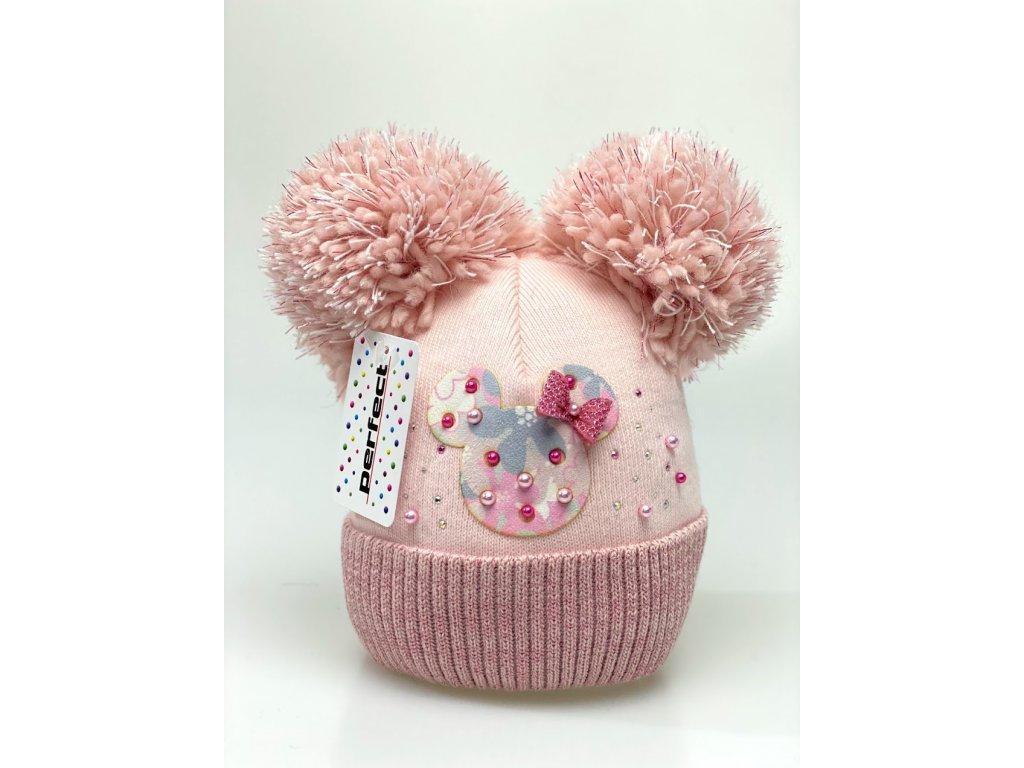 Zimní holčičí čepice s dvěma bambulkami Minnie color - světle růžová